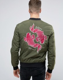 Religion Souvenir Bomber Jacket With Koi Carp Back Embroidery afbeelding