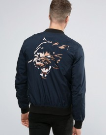Religion Souvenir Bomber Jacket With Tiger Back Embroidery afbeelding