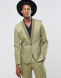 Religion Straight Blazer In Cotton In Khaki afbeelding