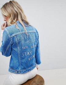 Replay Collarless Denim Jacket With Raw Hem Sleeve And Embroidery afbeelding