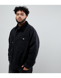 Replika Plus Denim Jacket In Black With Borg Collar afbeelding