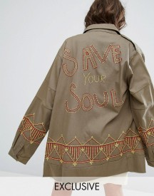 Sacred Hawk Festival Oversized Military Jacket With Save Your Soul Embroidery afbeelding