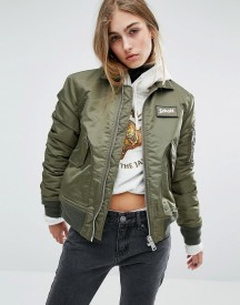 Schott Coach Bomber Jacket With Woven Badge On Front afbeelding