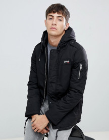 Schott Dubon Insulated Hooded Parka Jacket Slim Fit In Black afbeelding