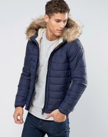 Schott Quilted Padded Hooded Jacket Detachable Faux Fur Trim afbeelding