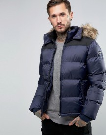 Schott Quilted Padded Jacket With Detachable Hood afbeelding
