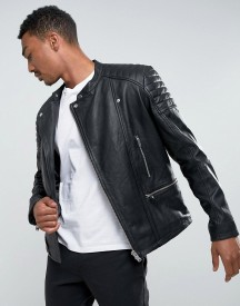 Selected Homme Leather Biker Jacket afbeelding