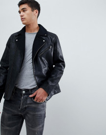 Selected Homme Leather Biker Jacket With Wool Lapel Detail afbeelding