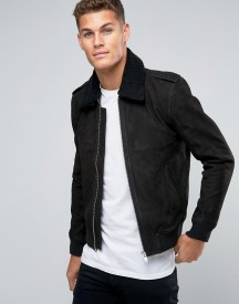 Selected Homme Leather Flight Jacket With Removeable Borg Collar afbeelding