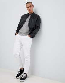 Selected Homme Leather Racer Jacket afbeelding