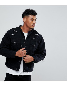 Siksilk Collarless Denim Jacket In Muscle Fit With Distressing afbeelding