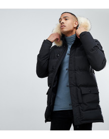 Siksilk Parka Jacket With Faux Fur Hood In Black Exclusive To Asos afbeelding