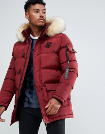 Siksilk Parka Jacket With Faux Fur Hood In Burgundy afbeelding