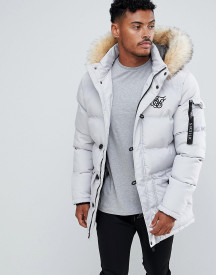 Siksilk Parka Jacket With Faux Fur Hood In Grey afbeelding