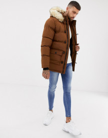 Siksilk Parka Jacket With Fur Hood In Brown afbeelding