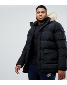 Siksilk Puff Parka Jacket With Fur Hood In Black Exclusive To Asos afbeelding