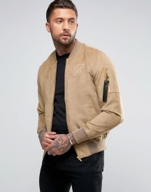 Siksilk Suedette Bomber Jacket In Stone afbeelding
