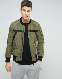 Sisley Ma1 Bomber Jacket With Taping Detail afbeelding