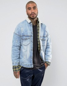 Sixth June Denim Jacket In Blue Wash With Borg Lining And Collar afbeelding