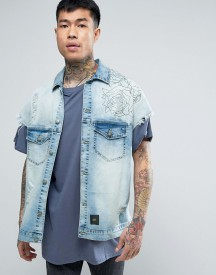 Sixth June Denim Jacket In Blue With Back Print afbeelding