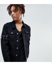 Sixth June Denim Jacket With Safety Pins In Black Exclusive To Asos afbeelding