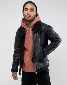 Sixth June Faux Shearling Jacket In Black afbeelding