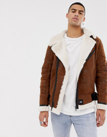 Sixth June Faux Shearling Jacket In Brown afbeelding