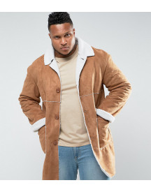 Sixth June Faux Shearling Jacket In Tan Exclusive To Asos afbeelding