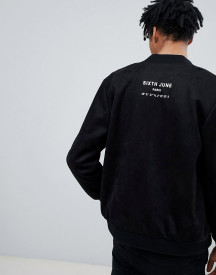 Sixth June Logo Bomber In Black Faux Suede afbeelding