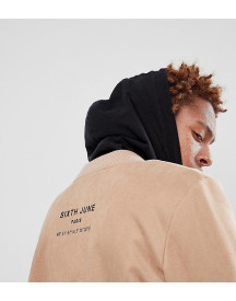 Sixth June Logo Bomber In Stone Faux Suede Exclusive To Asos afbeelding