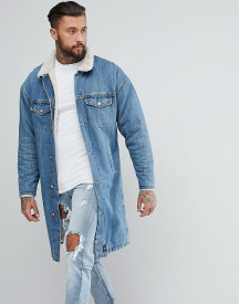 Sixth June Longline Denim Jacket With Borg Lining afbeelding