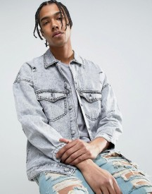 Sixth June Oversized Denim Jacket In Acid Wash With Distressing afbeelding
