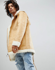 Sixth June Oversized Faux Shearling Jacket In Tan afbeelding