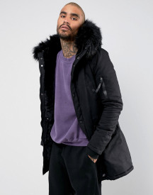 Sixth June Parka Coat In Black With Black Faux Fur Hood afbeelding