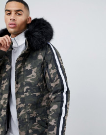 Sixth June Parka Coat In Camo With Black Faux Fur Hood afbeelding