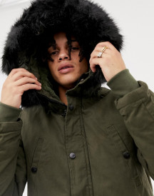Sixth June Parka Coat In Khaki With Black Faux Fur Hood afbeelding