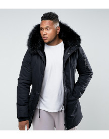 Sixth June Parka Jacket In Black With Faux Fur Hood Exclusive To Asos afbeelding