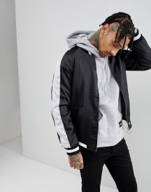 Sixth June Satin Bomber In Black With Side Stripe afbeelding