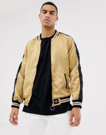 Sixth June Satin Bomber In Gold With Side Stripe afbeelding
