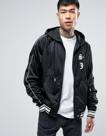 Sixth June Satin Track Jacket In Black afbeelding