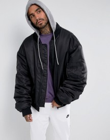 Sixth June Super Oversized Bomber In Black With Jersey Hood afbeelding