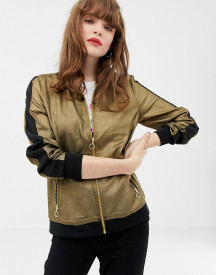 Soaked In Luxury Gold Retro Tracksuit Jacket Coord afbeelding