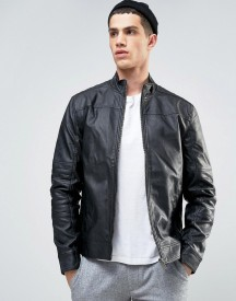 Solid Biker Jacket In Faux Leather afbeelding