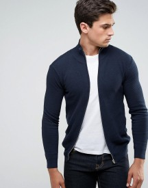 Solid Knitted Zip Up Jacket In Texture afbeelding