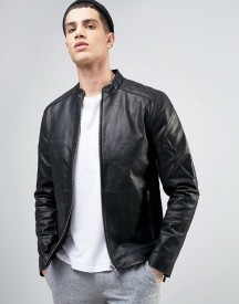 Solid Leather Biker Jacket With Quilting afbeelding