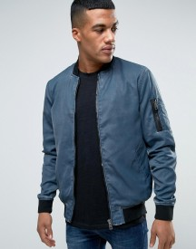 Solid Ma1 Bomber Jacket In Washed Blue afbeelding