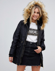 Stella Morgan Parka Coat With Faux Fur Trim And Drawstring Waist afbeelding