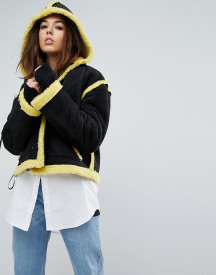 Story Of Lola Faux Shearling Jacket With Contrast Seams afbeelding