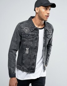 Threadbare Black Badged Denim Jacket afbeelding