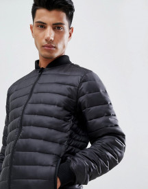 Threadbare Knitted Collar Quilted Jacket afbeelding